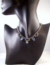 I Estate Beautiful Retro Topaz Blue Ice Givre Glass Rhinestone Necklace