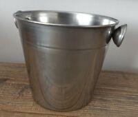 SILVER METAL ICE BUCKET ALSO USE AS CUTLERY HOLDER OR STYLISH PLANTER