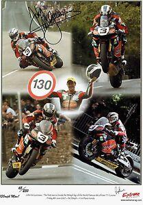 "John McGuinness - 2007 Isle of Man TT Autographed ""130mph"" 16 x 12 print."