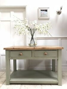 Painted Rustic Solid Pine Green Kitchen Island Sideboard Server Console Table