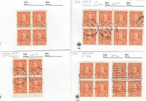 Canada: #222 8c Orange, KGV Pictorial Issue, Blocks (Block of 8) Used LOT CV$60+