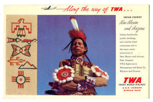 1950s TWA Trans World Airlines Advertising Postcard View New Mexico & Arizona