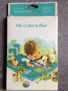 """16 ~ Vintage Baby Birth Announcement Cards w/Envelopes """"My Color is Blue"""""""