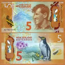 New Zealand, $5, 2015, Polymer, P-191, Redesigned, UNC > Penguin, Everest