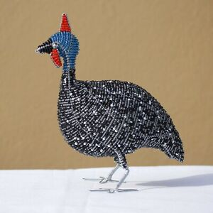 20cm Tall beaded Guinea Fowl Art Sculpture. Black & white handmade African Gifts