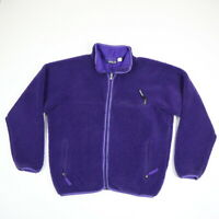 Vintage 90s Patagonia Deep Pile Fleece Jacket USA Md Purple Full Zip Mens LARGE