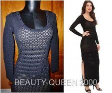 NwT $1190 CATHERINE MALANDRINO Noir Pointelle Knit Embellished Maxi DRESS Gown