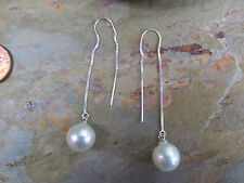 Sterling Silver & Paspaley South Sea Pearl Earrings Detail Threader Long NEW