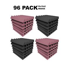 """Acoustic Foam 12x12x2"""" Wedge 96 Pack Rosy Beige + Gray Combo Soundproof tile"""