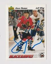 91/92 Upper Deck Steve Thomas Chicago Blackhawks Autographed Hockey Card