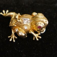 14k Yellow Gold Solid 3-Dimension Moveable 2 Frog Pendant Diamonds Ruby 3.30 dwt