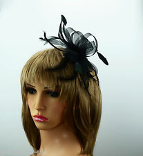 Black Net Ribbon and Feather Fascinator on Comb Wedding Races New UK Free Post