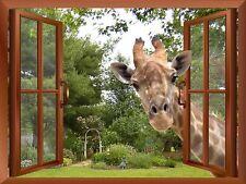 """A Curious Giraffe with an Open Window/ Wall Mural Home Post Decor- 36""""x48"""""""