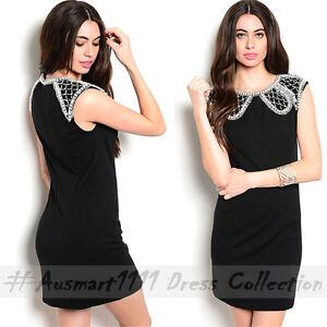 Sleeveless Mini Black Stretch Bodice Party Dress Round Neckline Pearl Rhinestone