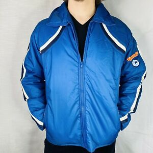 y2k Fossil Skiwear Ski Patrol patch sz Large blue shoulder striped puffer jacket