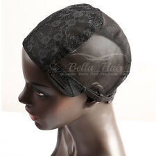 Stretch Mesh Lace Wig Cap With Adjustable Strap Weaving Net Caps Medium Black