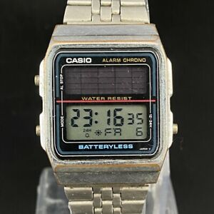 Vintage Casio Alarm Chrono Batteryless 2505 Japan Made Men's Wrist Watch Working