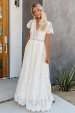 Elegant Lace Cap Sleeve Maxi Boho/Beach Wedding/Party Dress, NEW, Size 14-16