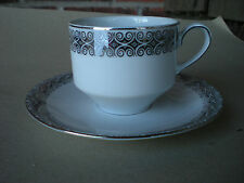 Winterling Schwarzenbach Bavaria CUP and SAUCER White & Platinum Germany