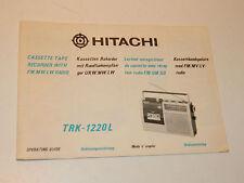vintage HITACHI TRK-1220L tokyo JAPAN manuel MODE D'EMPLOI notice MANUAL