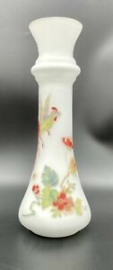 Frosted White Satin Glass Bud Vase With Birds & Flowers