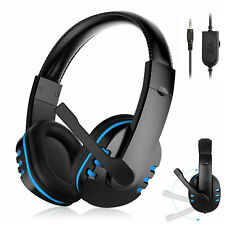 Pro Gamer Headset for PS4 PlayStation 4 Xbox One & PC Computer Blue Headphones