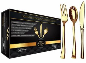 JL Prime 300 Heavy Duty Disposable Gold Plastic Silverware Set for Party Wedding