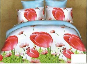 3D Bedding Set 4pcs Super King Duvet Cover Flat Sheet Pillow Cases White Floral