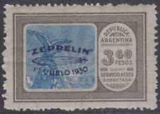 ARGENTINA 1930 GRAF ZEPPELIN Sc C24 TOP VALUE HINGED MINT F,VF SCV$200.00