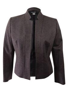 Nine West Women's Cut-Out-Neck Houndstooth Jacket 8, Black Multi