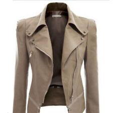 Womens Winter PU Leather Zip Biker Jacket Coat Motorcycle Jacket Outwear Parka