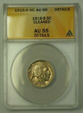 1916-S US Buffalo Nickel 5c Coin ANACS AU-55 Details Cleaned (Better)