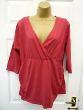 DOROTHY PERKINS Ladies Size 18 Red Casual Cross Over V Neck Ruched Maternity Top