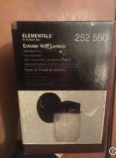 NEW Hampton Bay Black Metal Elementals Exterior Wall Mount Lantern W/Glass Shade