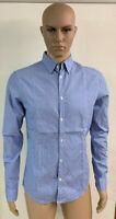 Camicia Uomo Armani Jeans Blu a Quadri Slim Fit Maniche Lunghe Taglia M