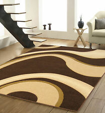 Extra Large Chocolate Brown Beige Carved Milano Rug 200x290.End Line Clearance