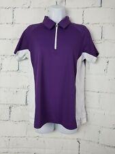 Slazener woman 1/2 zipper front Golf Top size Large Purple short sleeve Ad15