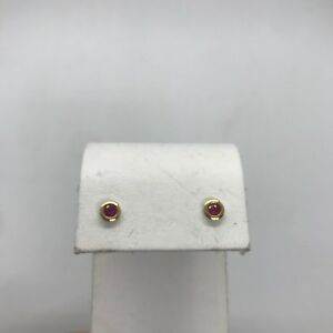 Estate 14k yellow gold round faceted natural ruby small stud earrings bezel tiny