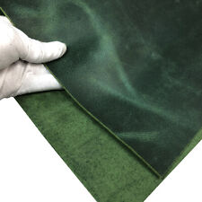 Tooling Leather Thick Cowhide Skin Crazy Horse Crafting Arts Leather Green