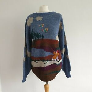 HELEN KNITS *Rare* Vintage Countryside Embroidered Hunter Wool Blend Jumper M/L