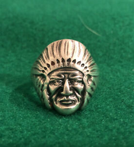 Vintage Indian Head Sterling Silver Ring Size 12 +/- 14.175 Grams Marked