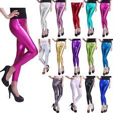 Women's Liquid Metallic Leggings Shiny Wet Look Stretch Pants Regular Plus Size