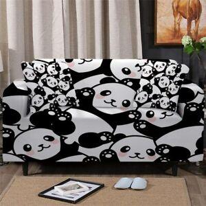 Panda Animal Cartoon Sofa Couch Chair Cushion Stretch Cover Slipcover Set Decor