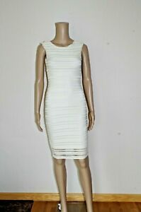 90€ GUESS sz XS DRESS LINED STRIPED STRETCH BODYCON COCKTAIL NEW EVENING IVORY