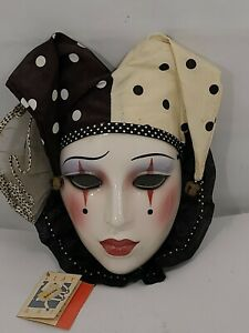 """VTG """"About Face"""" 80's Clay Art Glazed Ceramic Harlequin Mask Wall Decor"""