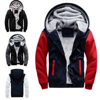 Winter Men's Warm Fleece Fur Hoodie Jacket Coat  Hooded Zipper Outwear Overcoat