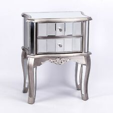 FRENCH CHAMPAGNE SILVER VENETIAN MIRROR BEDSIDE BEDROOM 2 DRAWER TABLE