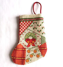 Christmas Stocking Ornament Wreath Mini Cross Stitch Handmade 4.5 inches