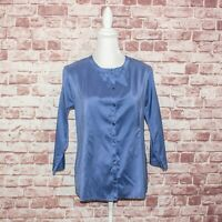 EILEEN FISHER Women's 100% Silk Button up Blouse Blue Fits Size Small