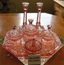7tlg. Frisiertisch-Garnitur Toiletten-Set Pressglas rosalin England Art Deco rar